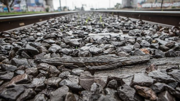 One of 44 broken or rotting sleepers near Roxburgh Park railway station on Tuesday.