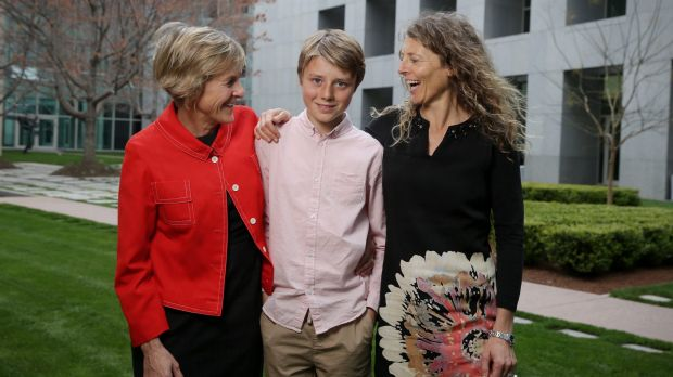 Eddie Blewett with his mums Neroli Dickson and Claire Blewett.