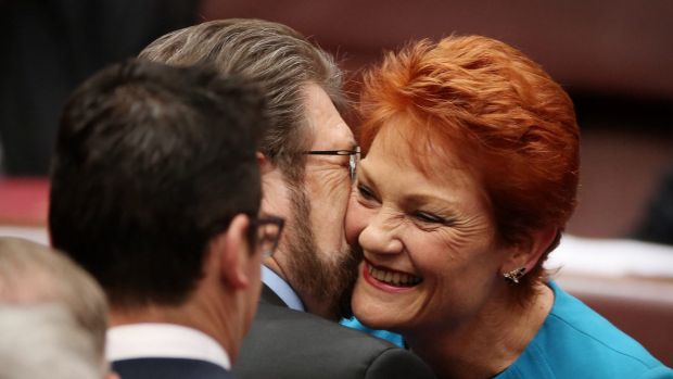 Senator Hanson was also embraced by Senator Derryn Hinch after she delivered her first speech in the Senate.
