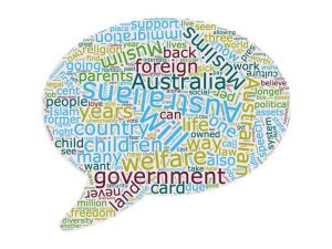 Word cloud representing the most frequently used words in Hanson's 2016 speech.