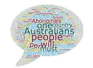 Word cloud representing the most frequently used words in Hanson's 1996 speech.
