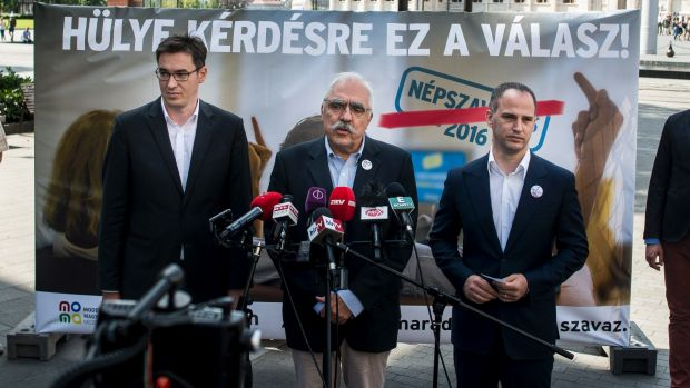 Leaders of three opposition parties Gergely Karcsony (Dialogue for Hungary), Lajos Bokros, (Modern Hungary Movement) and ...