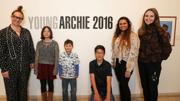 Young Archie judges and winners: Del Kathryn Barton, Olivia Lee, Alexander Bennett, Mikael Woo, Dilara Niriella and ...