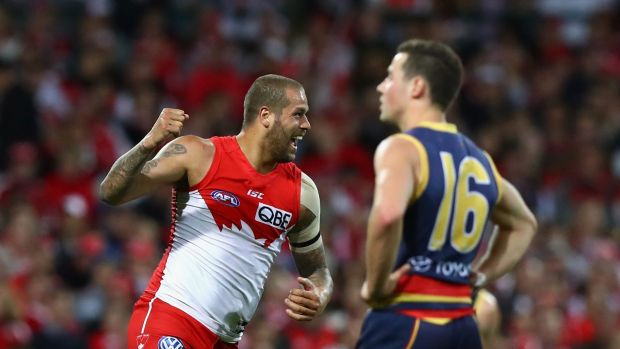 Lance Franklin celebrates one of his goals against the Crows.