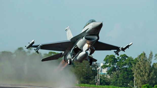 Taiwan Air Force F-16 fighter jet takes off.