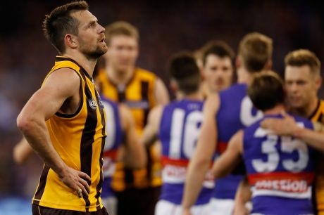 End of the line: Luke Hodge of the Hawks looks dejected after the loss to the Western Bulldogs.