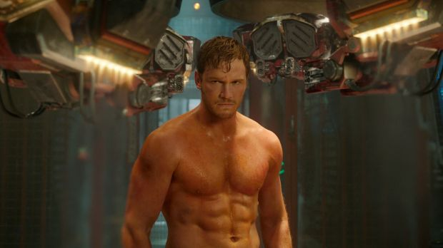 """Chris Pratt looking more """"ripped"""" than """"shredded"""" in a scene from 'Guardians Of The Galaxy'."""