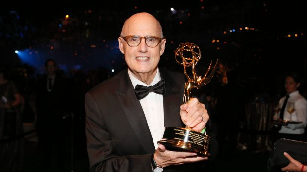 Jeffrey Tambor poses with the award for outstanding lead actor in a comedy series for Transparent at the 2016 Emmy Awards.
