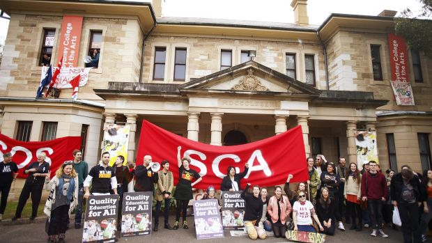 Students protest outside the Sydney College of Arts in August.
