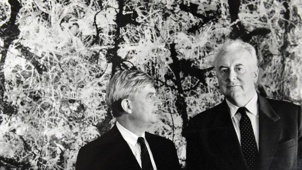 Former prime minister Gough Whitlam and Director of the Australian National Gallery James Mollison in front of Blue ...