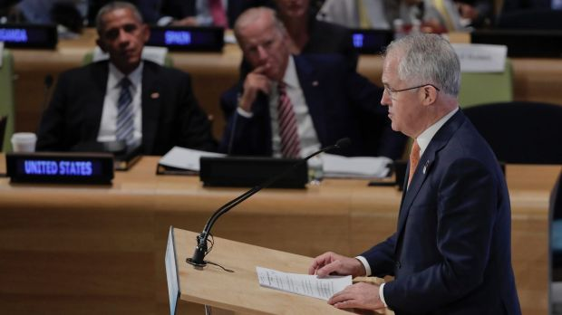 Prime Minister Malcolm Turnbull speaks as US President Barack Obama and Vice-President Joe Biden listen at the Leader's ...