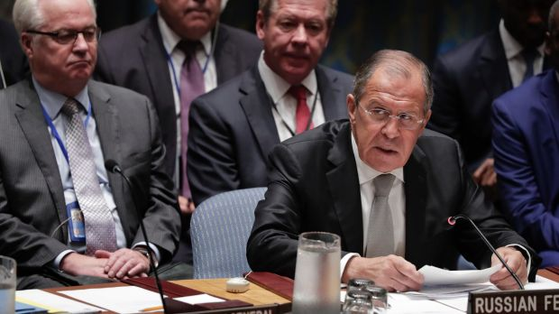 Russian Foreign Minister Sergey Lavrov at the meeting.