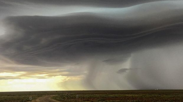 The storm passing through Woomera in SA's north on Wednesday.