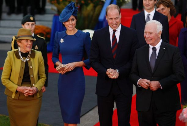 The Duke and Duchess of Cambridge, walk with Governor General of Canada David Johnston, right, and his wife Sharon, ...