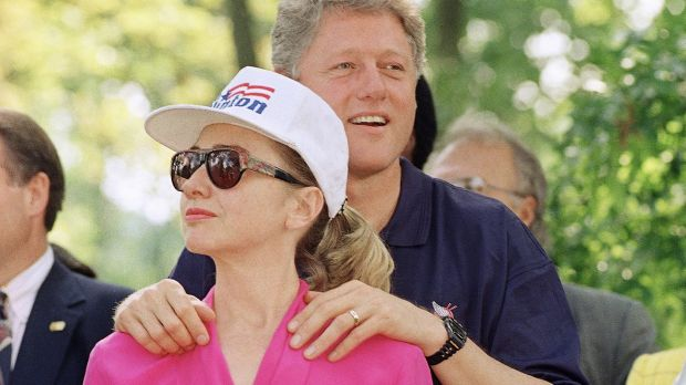 Bill Clinton stands with Hillary during the 1992 presidential campaign.