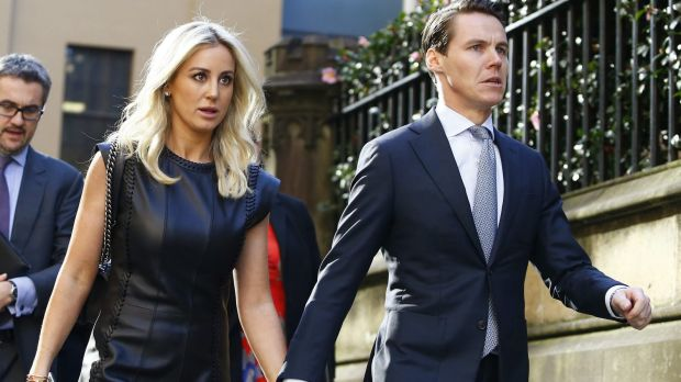 Jacenko with husband Oliver Curtis during the insider trading trial in May.