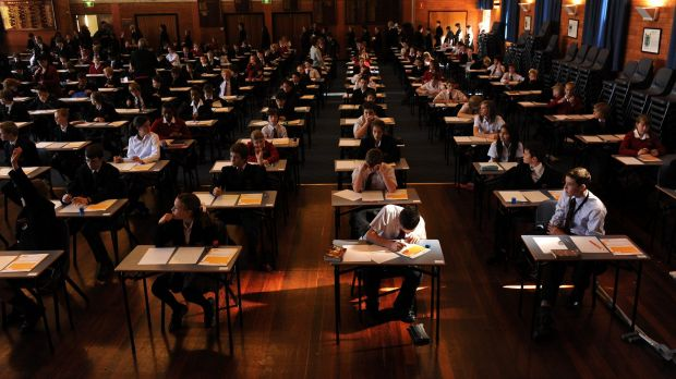 Daramalan College students sit the national literacy and numeracy tests.