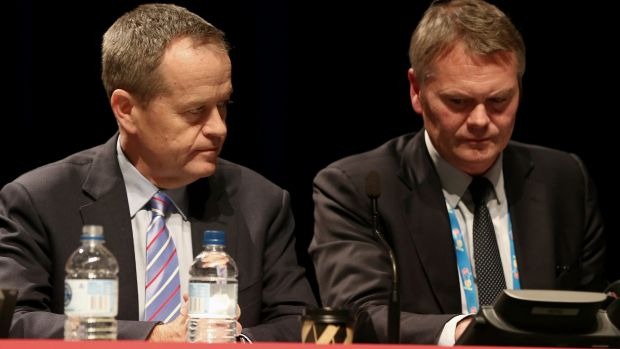 Opposition Leader Bill Shorten and ALP National Secretary George Wright during the ALP National Conference last year.