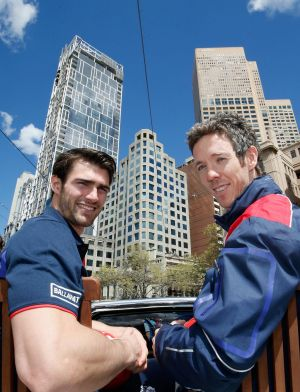 Murphy and Easton Wood during the grand final parade.