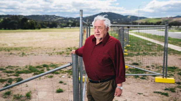 Gilmore resident Reg Philip in October, concerned about Foy's plastic-to fuel factory in Hume.