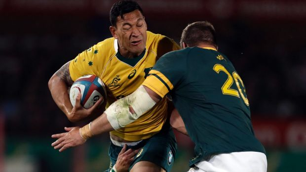 Turning point: Israel Folau, left, was yellow carded in the 34th minute.