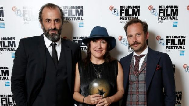 Panos Koronis, Athina Rachel Tsangari and Giorgos Pyrpassopoulos after <i>Chevalier</i> was named best film at the 2015 ...