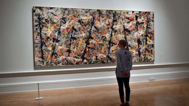 Major drawcard: Jackson Pollock's Blue Poles is currently on loan to the Royal Academy of Arts in London.