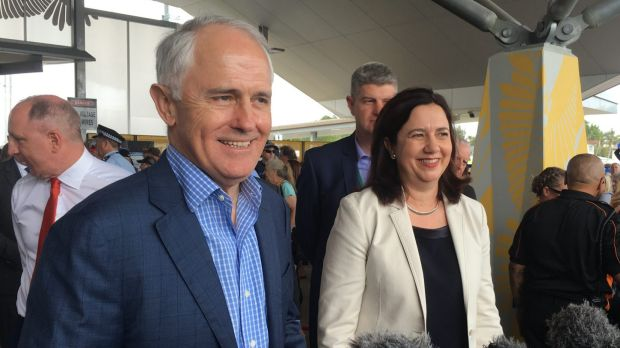 Prime Minister Malcolm Turnbull and Premier Annastacia Palaszczuk at the opening of the Moreton Bay Rail Link.