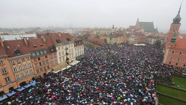 A sea of umbrellas on Black Monday in downtown Castle Square, Warsaw. 90 per cent of strikers were from cities of ...