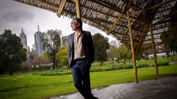 Indian architect Bijoy Jain in his newly-launched MPavilion in Melbourne's Queen Victoria Gardens.