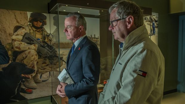Dr Brendan Nelson and Chris Masters launch of Middle East display and Afghanistan DVD release at the Australian War Memorial.