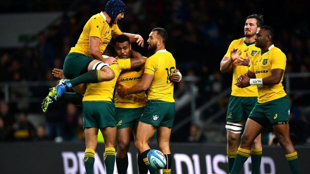 Samu Kerevi of Australia celebrates a try.