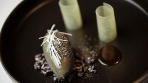 Whipped black sesame dessert served at the Bridge Room in Sydney.