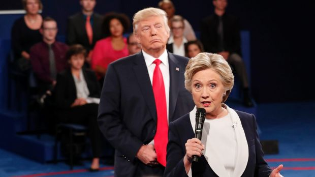 Donald Trump followed Hillary Clinton around the stage during the second election debate.