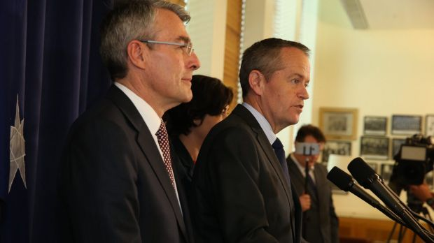 Shadow attorney-general Mark Dreyfus and Opposition Leader Bill Shorten announce Labor's rejection of the plebiscite on ...