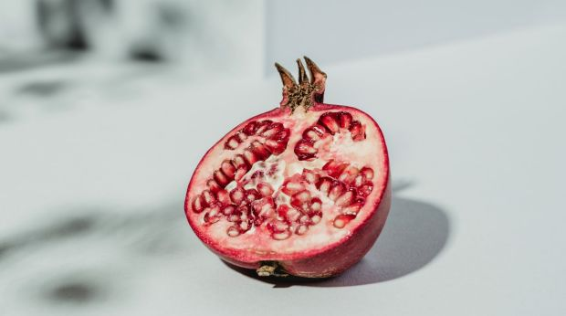 Pomegranates have vitamin C that boosts the collagen in the skin