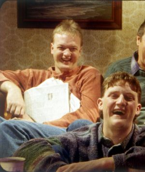 The Kerrigan household: Steve (Anthony Simcoe), Darryl (Michael Caton), Sal (Anne Tenney) and, in front, Dale (Stephen ...