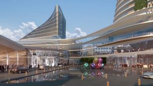 An artist's impression of the proposed redevelopment of the Aquis Canberra casino.