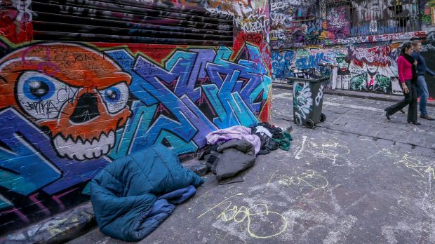 People sleeping rough in Melbourne.