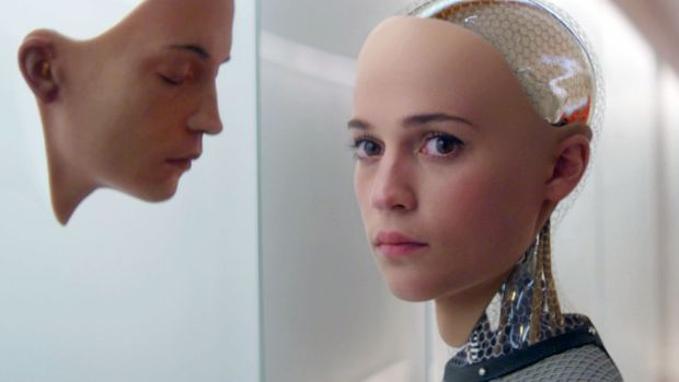 Alicia Vikander in a scene from <i>Ex Machina</i>, one of many films to explore the costs of viewing robots as sentient ...