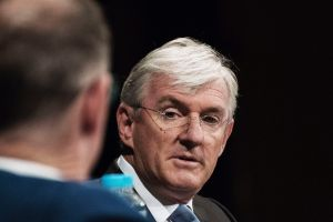 SYDNEY, AUSTRALIA - OCTOBER 13: Steven Lowy of Westfield speaking with Robert Harley from AFR at The Westin on October ...