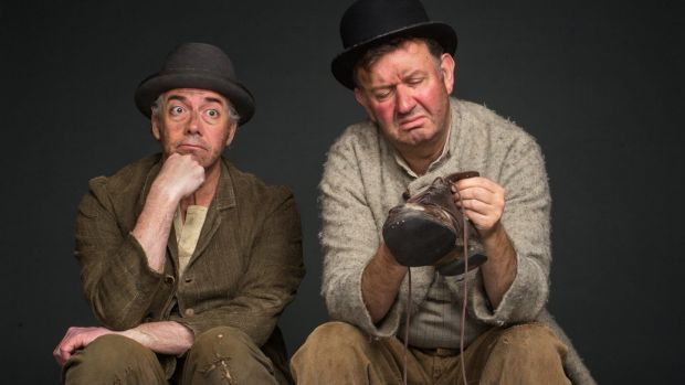Shaun Micallef and Francis Greenslade as Vladimir and Estragon in <i>Waiting for Godot</i>.