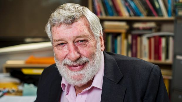 Professor Desmond Ball, in his office at the Australian National University in 2013.