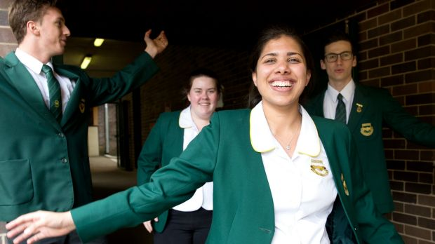 Concord High School students, from left, Max Brenner, Sophie Briede and Zahra Noorgat, completed their first HSC exam in ...
