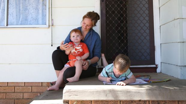 Single mother Jessica Russell with her two sons Ryan, almost three, and Andrew, one, at their home in St Clair.
