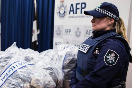 A portion of the MDMA seized by police displayed at a media event on Saturday.