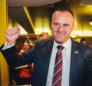 Andrew Barr arrives at Labor's election night function.