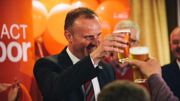 Chief Minister Andrew Barr toasts Labor's success after last year's ACT election.
