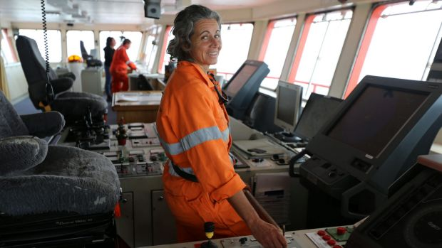Captain Madeleine Habib - pictured here on the Aurora Australis in 2013 - was detained and jailed by the Israeli ...