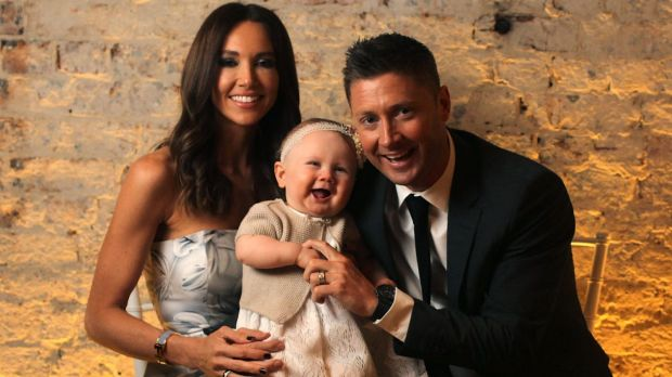 Former Australian captain Michael Clarke with his family at his book launch.